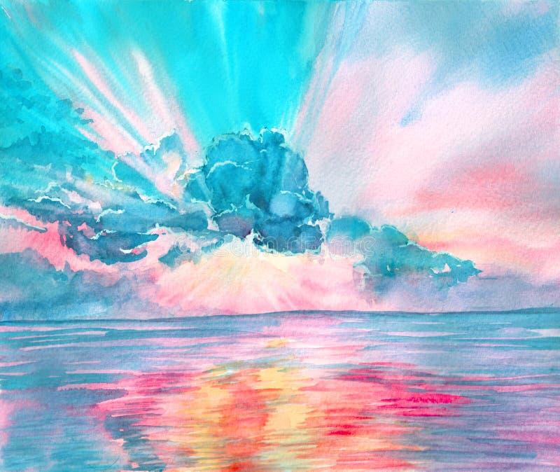 Watercolor seascape, beautiful sunrise, sunset. stock photos