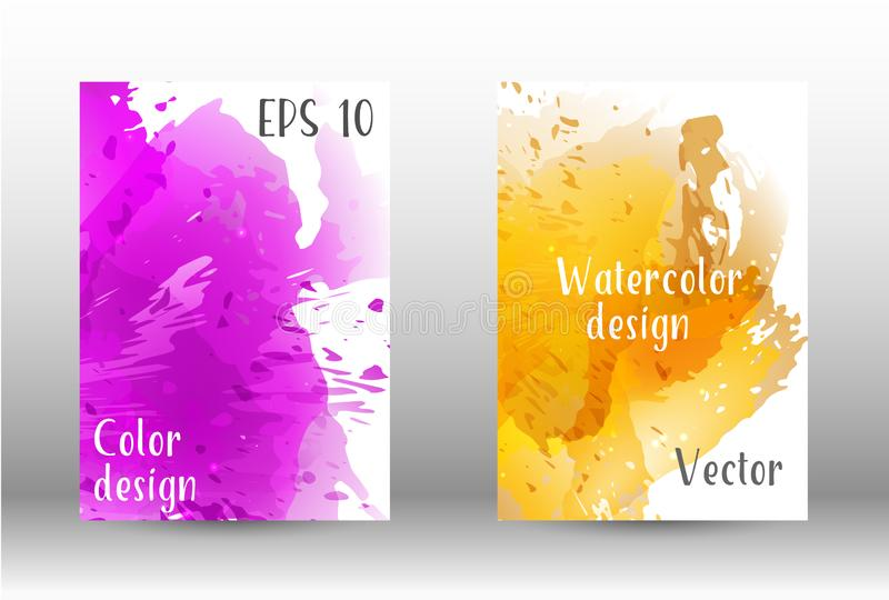 Watercolor spray. Design cover with a picture of watercolor spray. A set of rectangular objects for the design of a cover, a poster, a banner, a notebook, an royalty free illustration