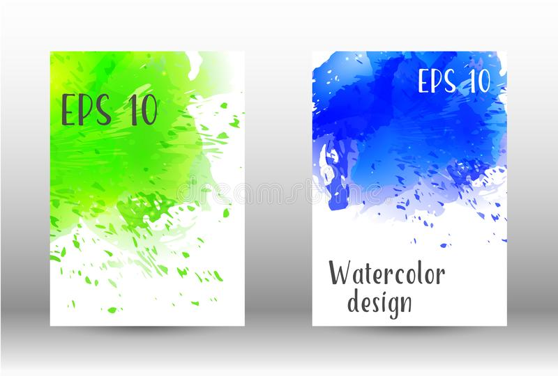Watercolor spray. Design cover with a picture of watercolor spray. A set of rectangular objects for the design of a cover, a poster, a banner, a notebook, an stock illustration