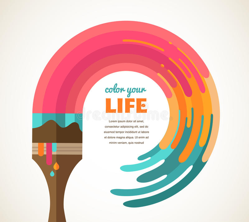 Design, creative, idea and color concept royalty free illustration