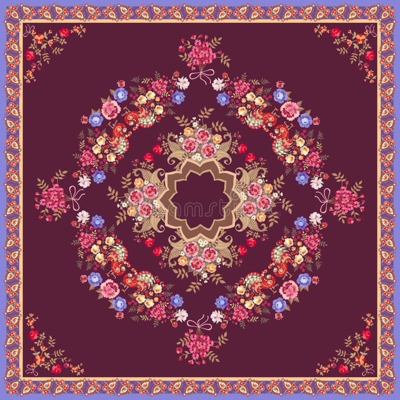 Design for cushion. Symmetric pattern with flowers and birds in frame of paisley. Lovely tablecloth in ethnic style. Shawl. Bandana royalty free illustration