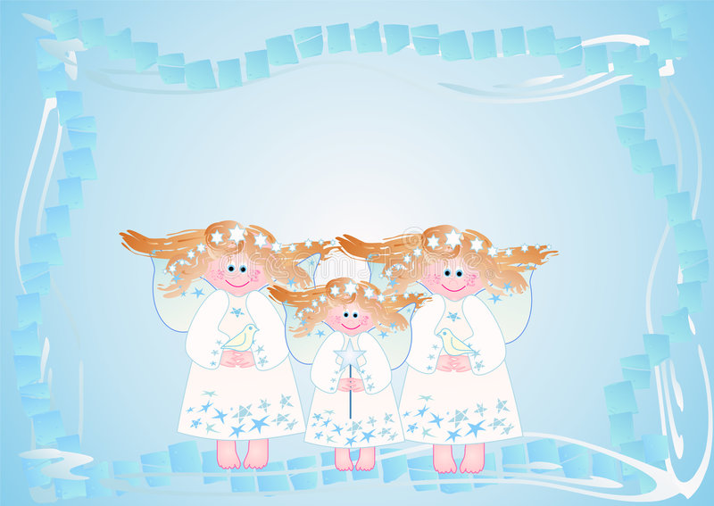 Design with cute little angels. (Christmas) illustration with cute little angels in soft colors. Can be used as a background too vector illustration