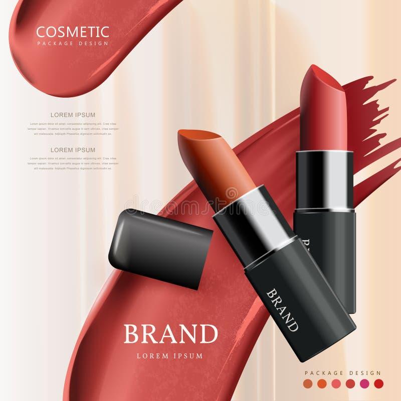 Design d'emballage attrayant de rouge à lèvres illustration libre de droits