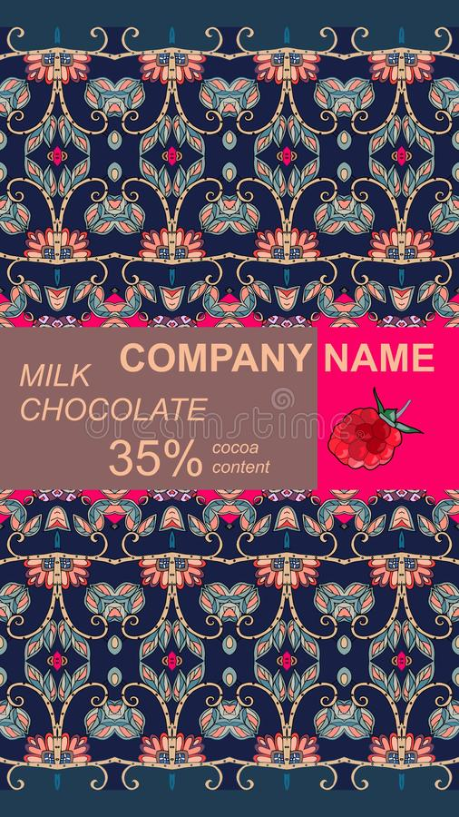 Design d'emballage de barre de chocolat avec l'ornement naturel abstrait Calibre de empaquetage editable facile illustration stock