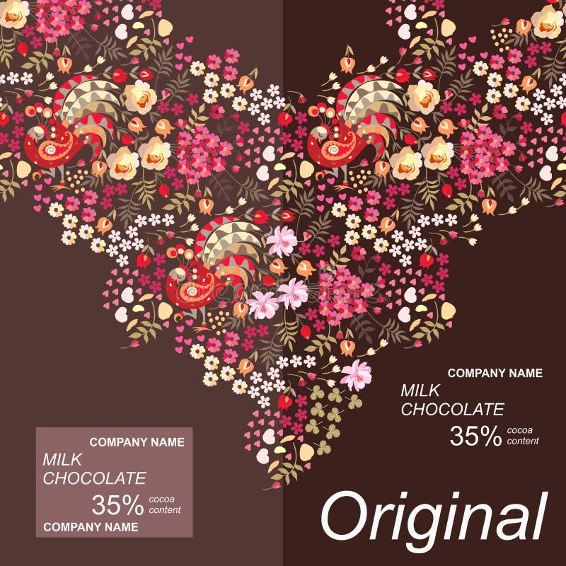 Design d'emballage de barre de chocolat avec l'ornement naturel lumineux dans le style ethnique avec les oiseaux, les feuilles et illustration stock