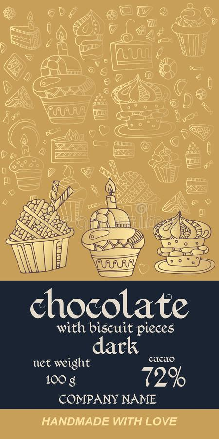 Design d'emballage de barre de chocolat avec la pâtisserie sur le fond d'or Carte de voeux d'invitation ou Calibre de empaquetage illustration de vecteur