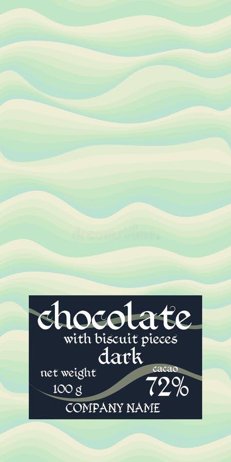 Design d'emballage de barre de chocolat avec le fond ondulé simple dans des tons vert clair illustration stock