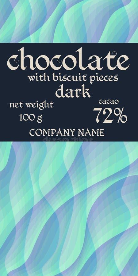 Design d'emballage de barre de chocolat avec le fond ondulé simple Motif marin illustration libre de droits