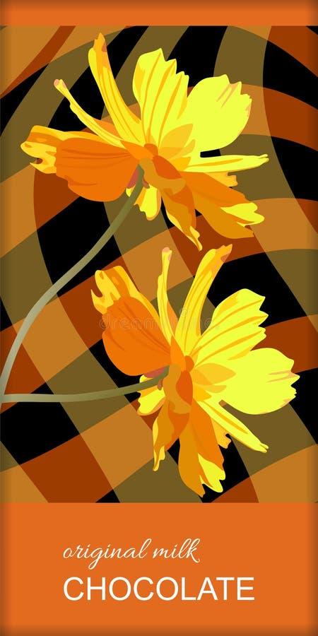 Design d'emballage de barre de chocolat avec les fleurs jaunes sur le fond à carreaux brun Calibre de empaquetage editable facile illustration de vecteur