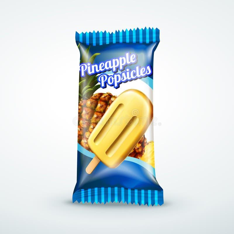 Design d'emballage de glaces à l'eau d'ananas illustration de vecteur