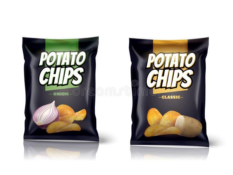 Design d'emballage de pommes chips illustration libre de droits