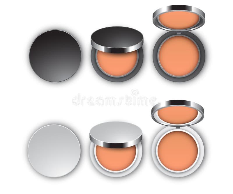 Design d'emballage de poudre de cosmétiques, ensemble de paquets fermés et ouverts dans la couleur noire et blanche, vue supérieu illustration libre de droits