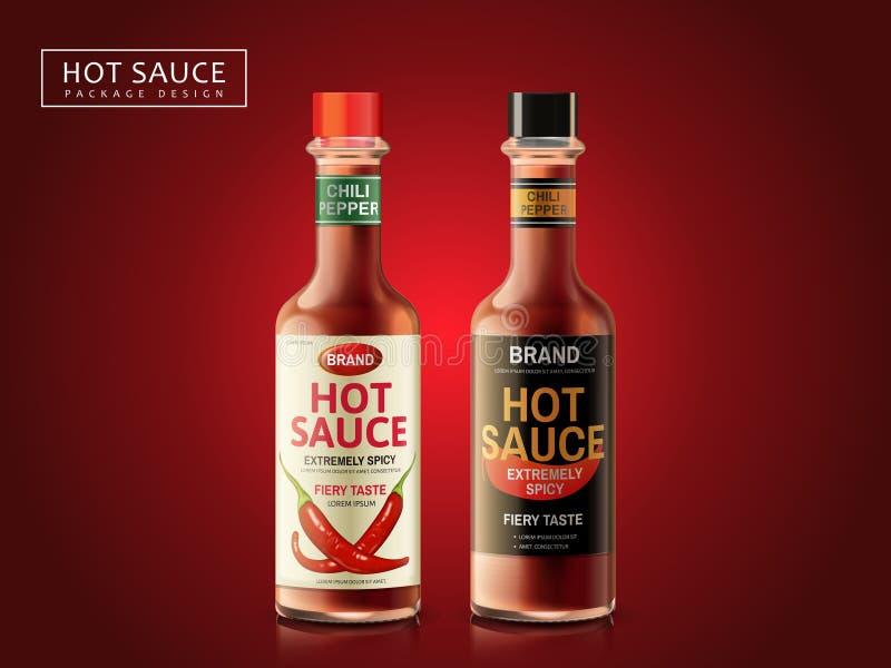 Design d'emballage de sauce chaude illustration de vecteur