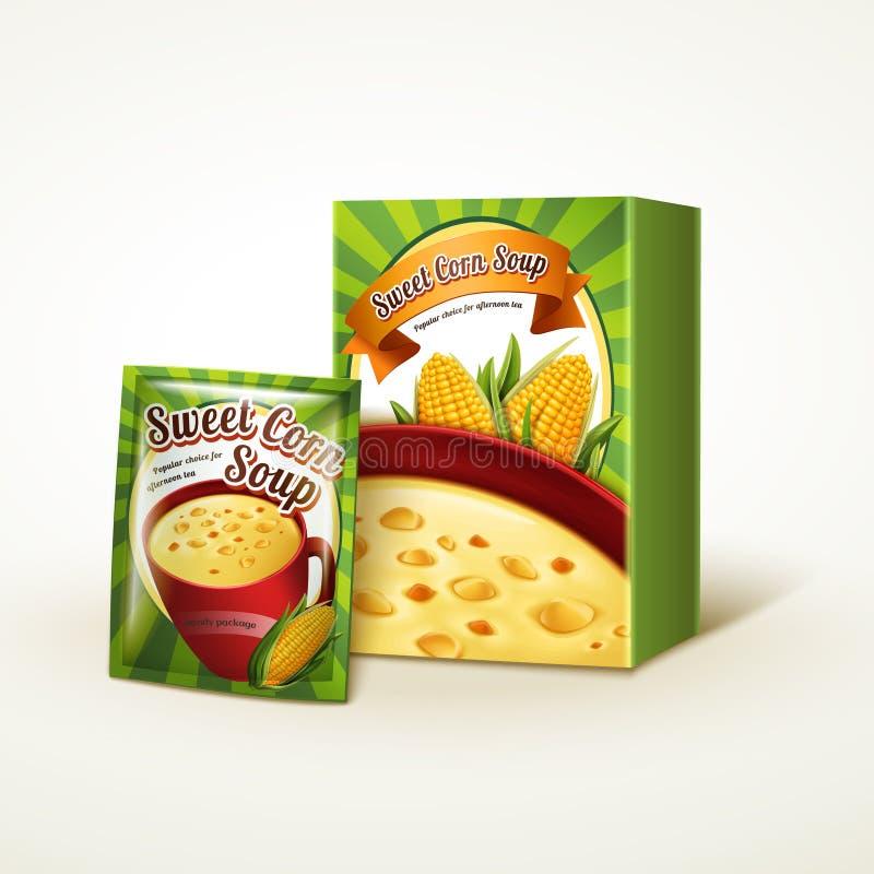 Design d'emballage de soupe à maïs illustration stock