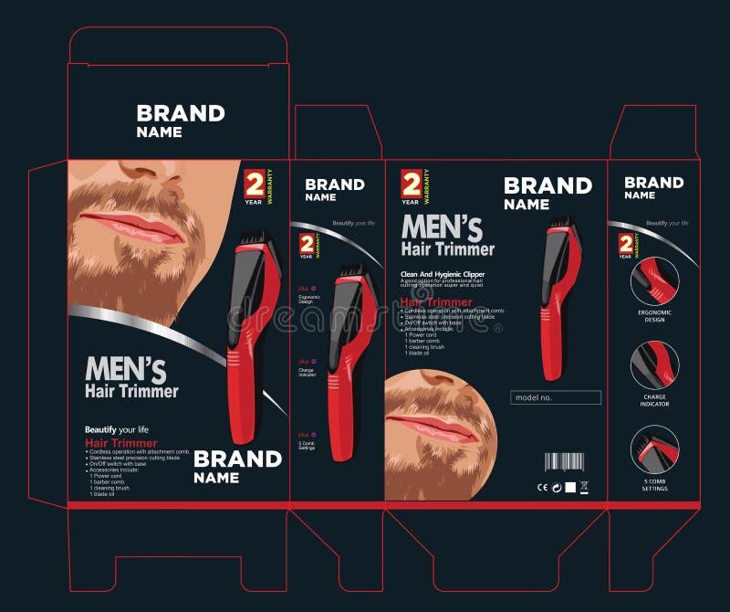 Design d'emballage de trimmer de cheveux image libre de droits