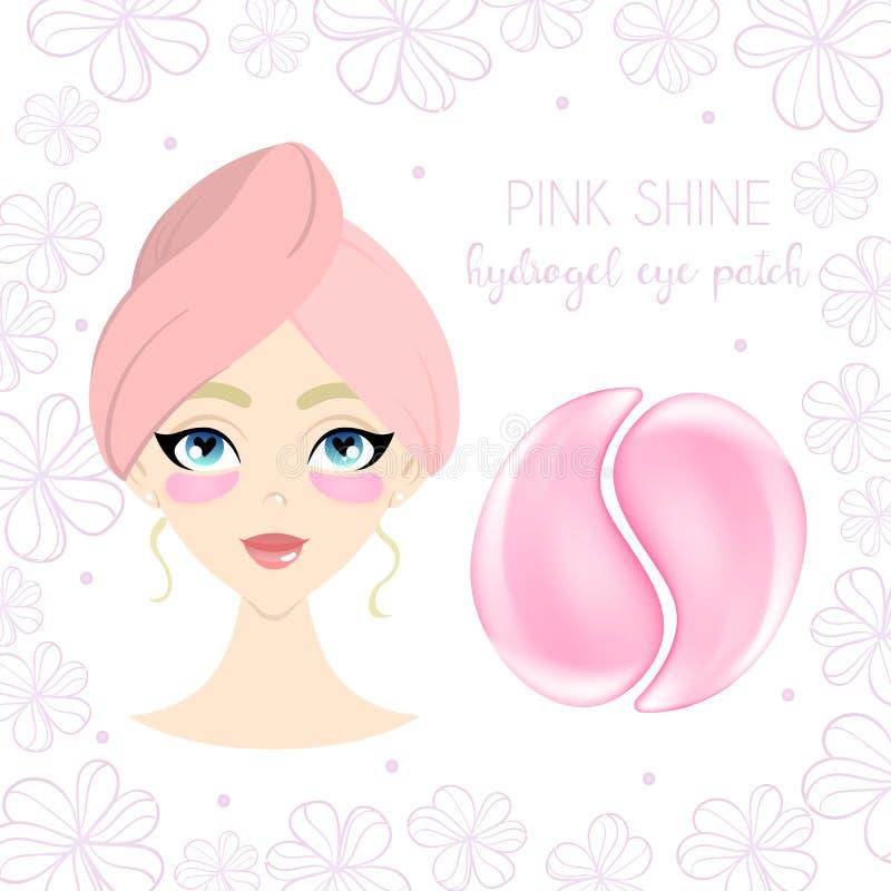Design d'emballage pour la correction rose d'oeil d'hydrogel avec la belle jeune fille illustration stock