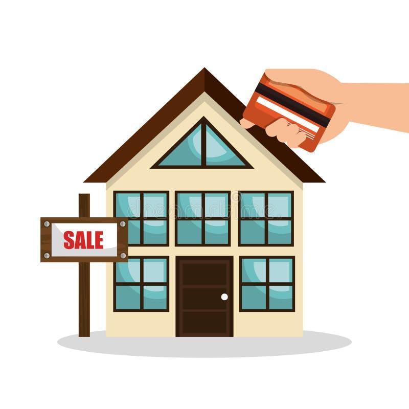 design d'entreprise de carte de crédit de vente d'immobiliers de maison illustration stock