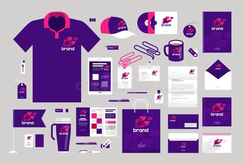 Design d'entreprise Descripteur d'identité de corporation Logo, label, promotion de marque Illustration de vecteur illustration de vecteur