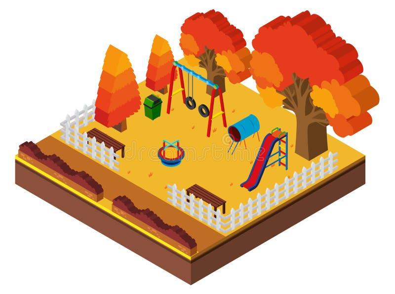 design 3D för lekplats i höst vektor illustrationer