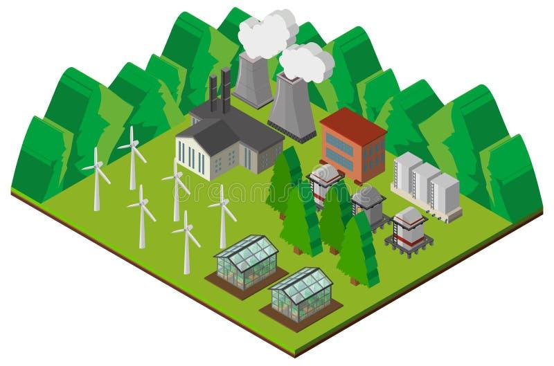 Design 3D für Kraftwerk in den Bergen stock abbildung