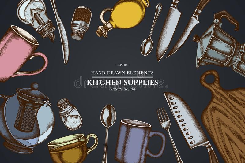 Design on dark background with Chef`s knifes, teaspoon, spoon, fork, knife, cutting board, bottle of oil, teapots. Coffee pot, cups, sugar bowl, pepper shaker stock illustration