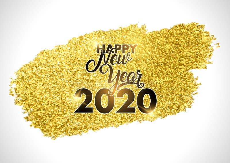 Design de Ano Novo Feliz com o Fluxo de Brilhos do Ouro imagem de stock royalty free