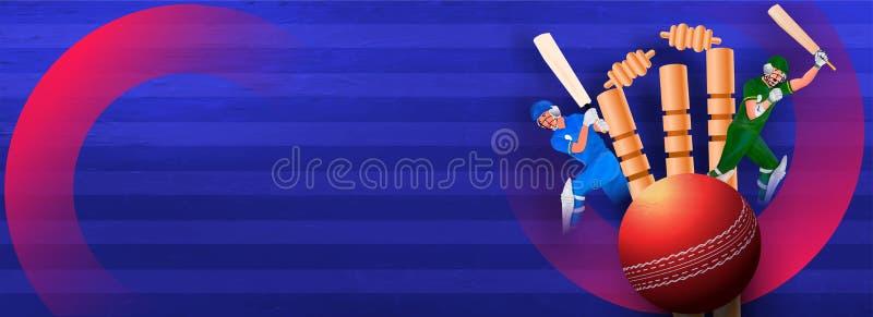 Design de cabeçalho ou banner do site com torneios de críquete e personagem de batsman para a Cricket League ilustração royalty free