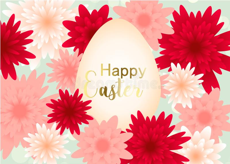 Design de carte élégant de salutation de jour de Pâques avec des fleurs illustration stock