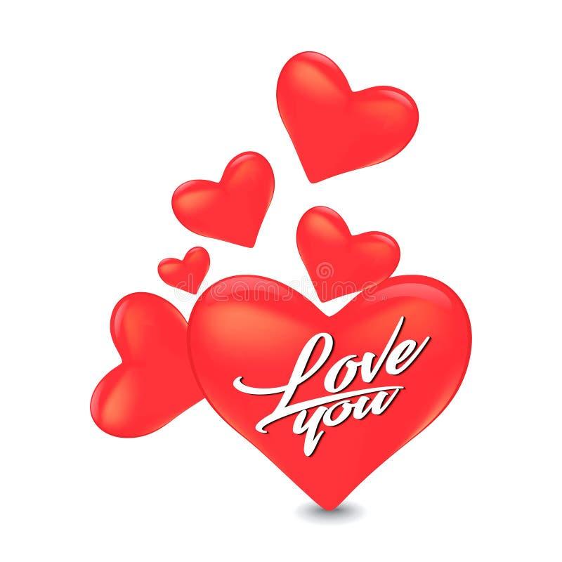 Design de carte abstrait d'amour de jour du ` s de Valentine avec la forme de relief de coeur illustration stock
