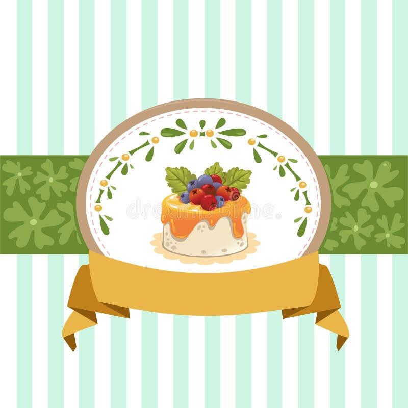 Design de carte avec le petit gâteau photographie stock