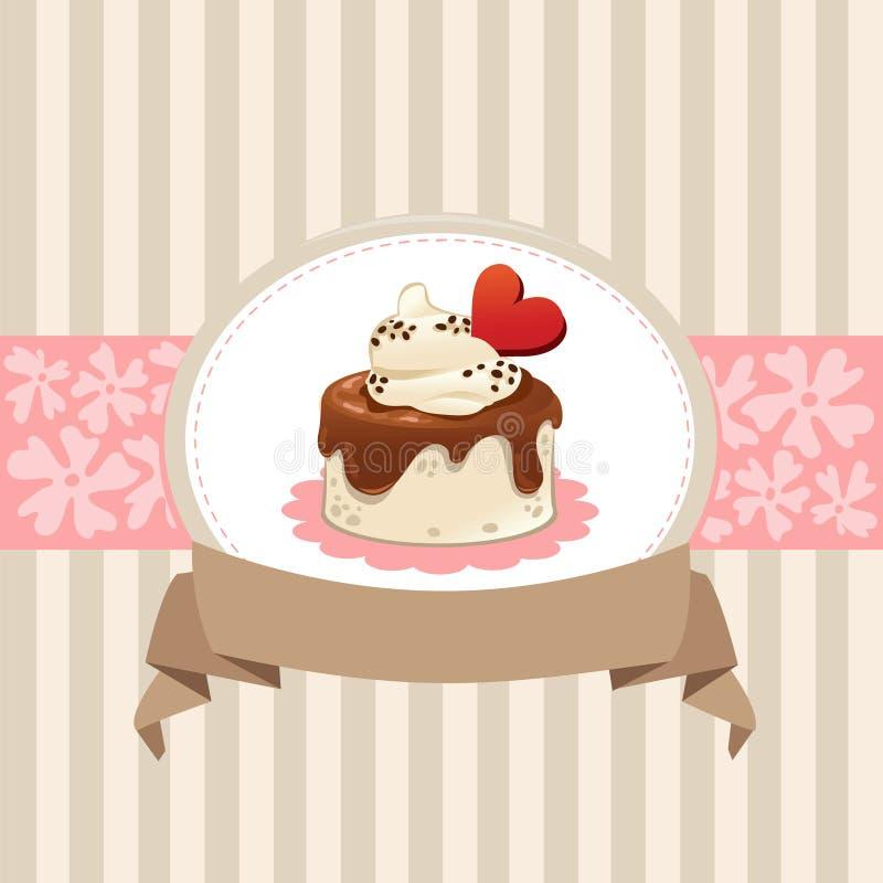 Design de carte avec le petit gâteau de chocolat photos libres de droits