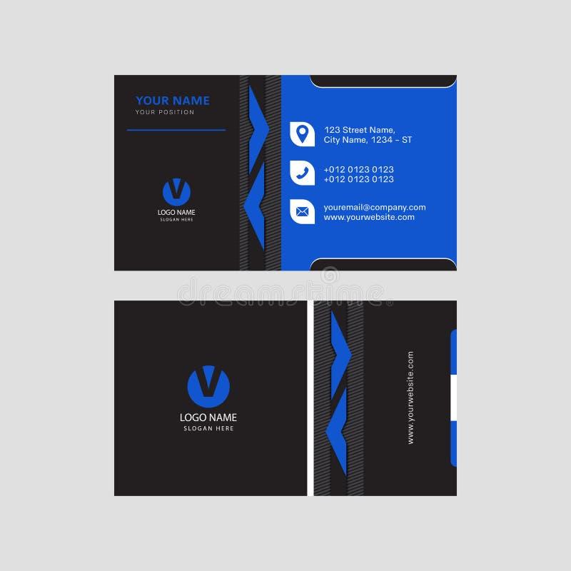 Design de carte bleu et noir moderne professionnel d'invitation de carte de visite professionnelle de visite de couleur illustration libre de droits