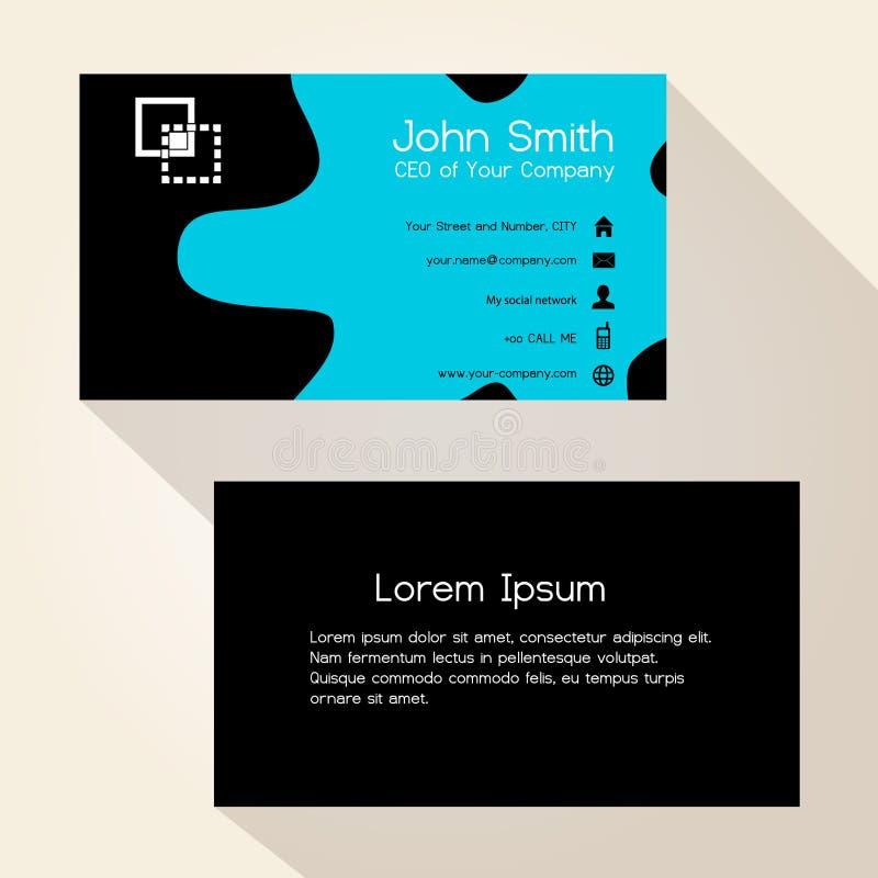 Design de carte bleu simple d'affaires de noir de tache illustration stock