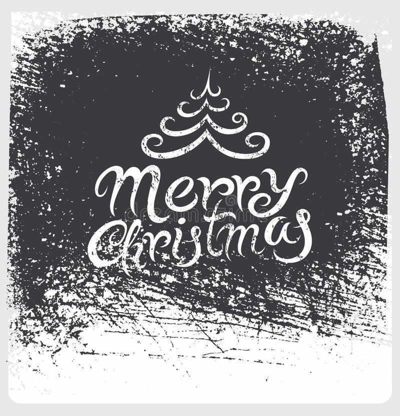 Design de carte calligraphique de Noël de vintage Rétro illustration de vecteur Effet grunge sur la couche distincte illustration de vecteur