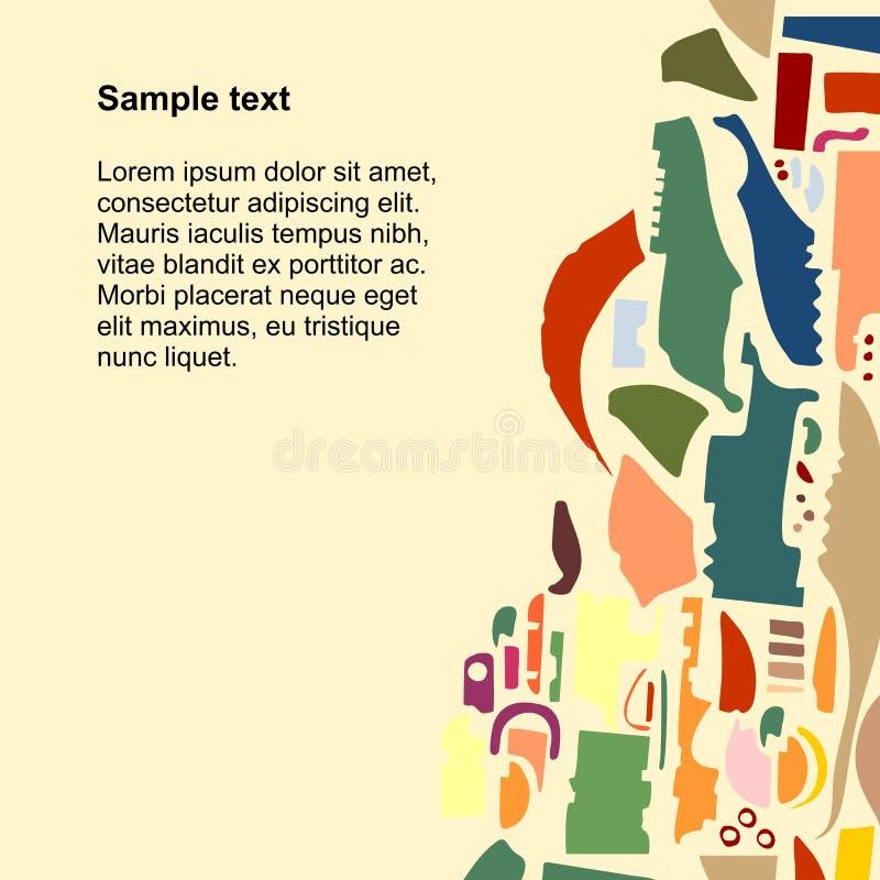 Design de carte carré avec le modèle abstrait Calibre pour des cartes de voeux d'affiche, d'invitation et, couverture, brochure,  illustration libre de droits