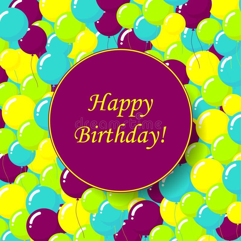 Design de carte coloré de joyeux anniversaire illustration de vecteur