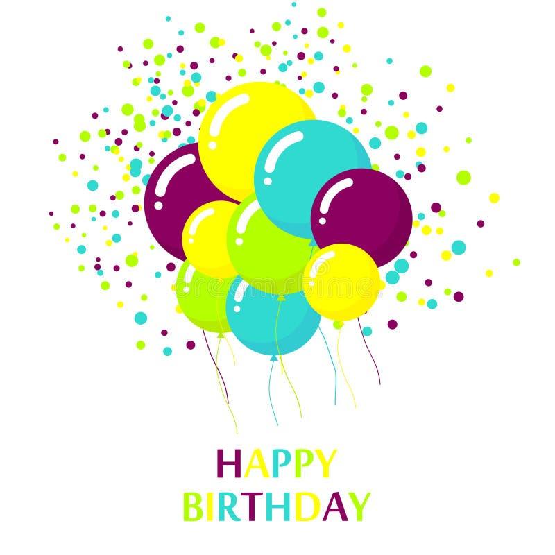 Design de carte coloré de joyeux anniversaire illustration stock