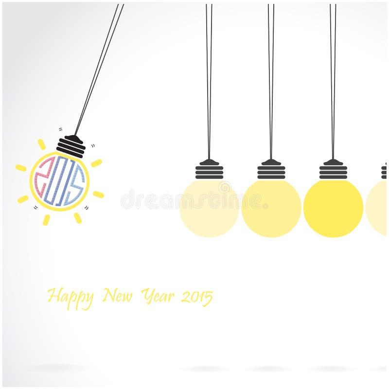 Design de carte créatif de salutation de la bonne année 2015 illustration libre de droits