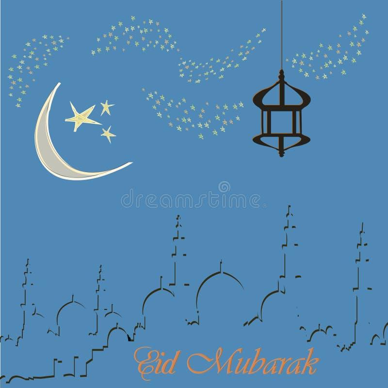 Design de carte créatif de salutation pour le mois saint du festival de communauté musulman Eid Mubarak avec la lune et la lanter photographie stock libre de droits