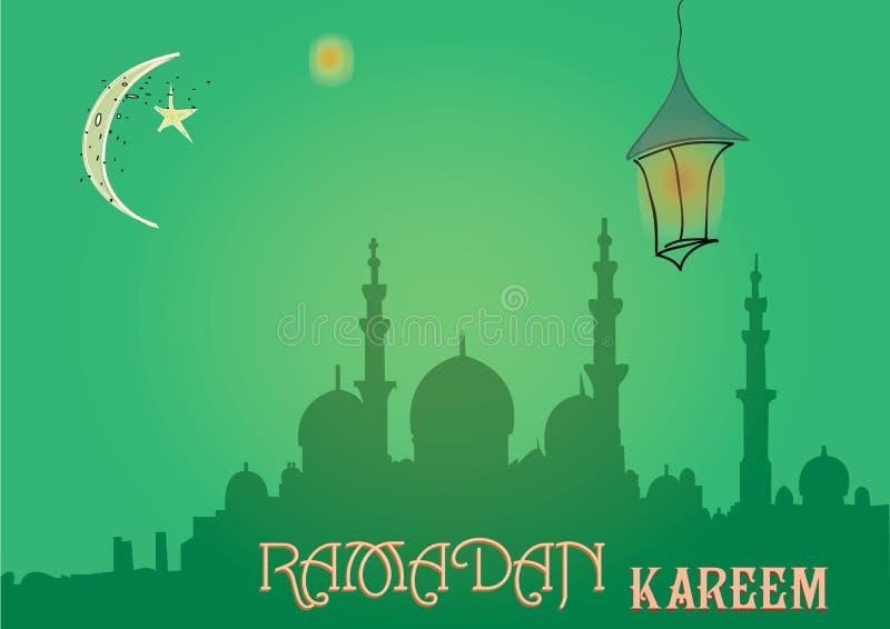 Design de carte créatif de salutation pour le mois saint du festival de communauté musulman Ramadan Kareem avec la lune et la lan images stock