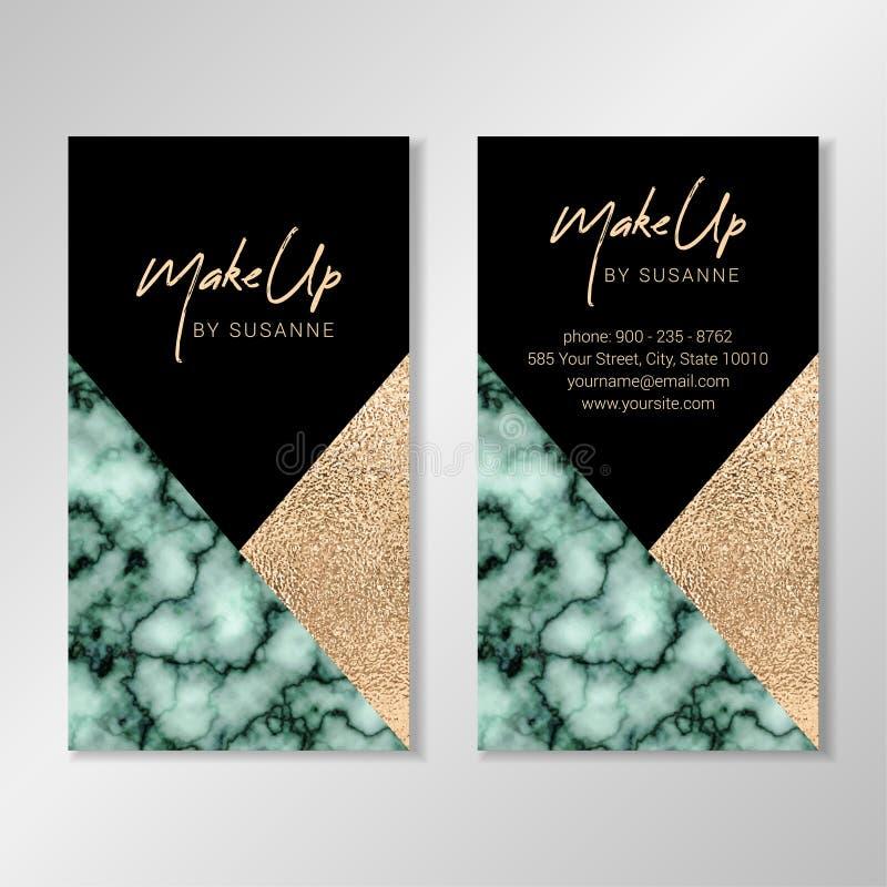 Design de carte d'affaires avec la feuille d'or de marbre verte de texture et de faux illustration de vecteur