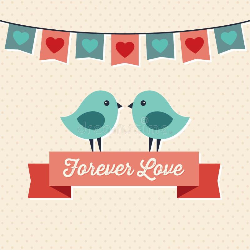Design de carte d'amour avec deux oiseaux mignons illustration de vecteur