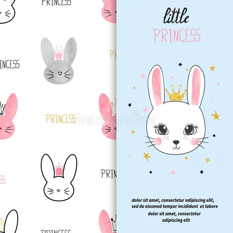 Design de carte d'anniversaire avec le lapin mignon de princesse illustration de vecteur