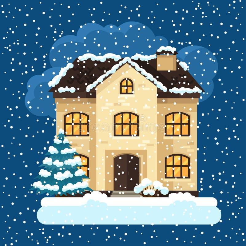 Design de carte d 39 hiver avec la maison et les arbres for Conceptions et prix de la maison
