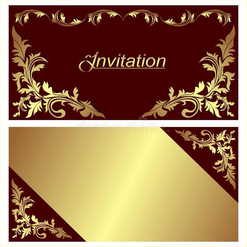 Design de carte d'invitation avec les frontières d'or. illustration libre de droits