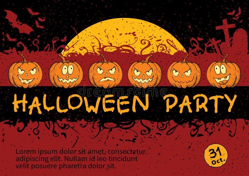 Design de carte d'invitation de Halloween illustration stock