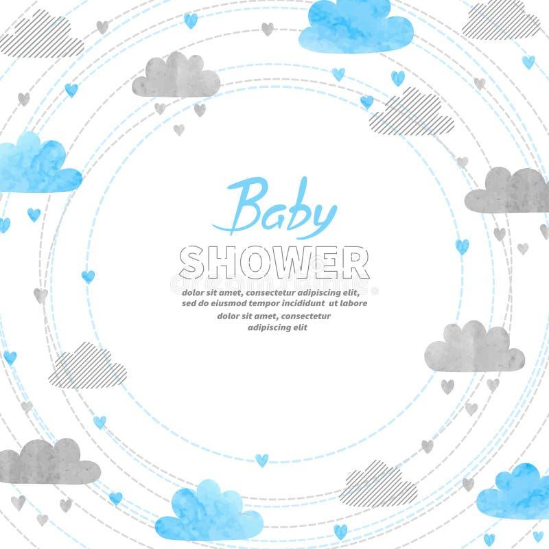 Design de carte d'invitation de garçon de fête de naissance avec des nuages d'aquarelle illustration de vecteur