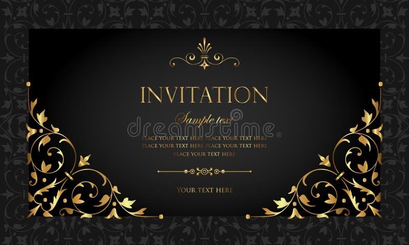 Design de carte d'invitation - style de luxe de vintage de noir et d'or illustration libre de droits