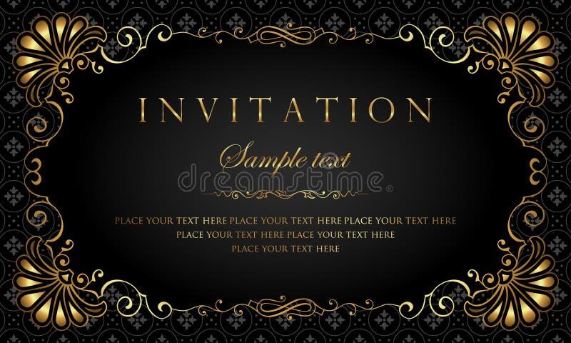 Design de carte d'invitation - style de luxe de vintage de noir et d'or photographie stock libre de droits