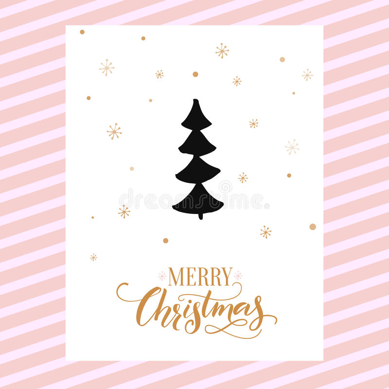Design de carte de Joyeux Noël avec la calligraphie et l'arbre de Noël tiré par la main simple Conception de descripteur de vecte illustration de vecteur